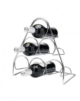 Hahn Pisa Pyramid Wine Rack 6 Bottle Chrome