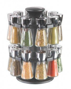 Cole & Mason Hudson Herb & Spice Rack 20 Jar Filled Carousel