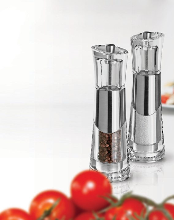 Cole & Mason Precision Bobbi Acrylic and Chrome Salt & Pepper Mill Gift Set