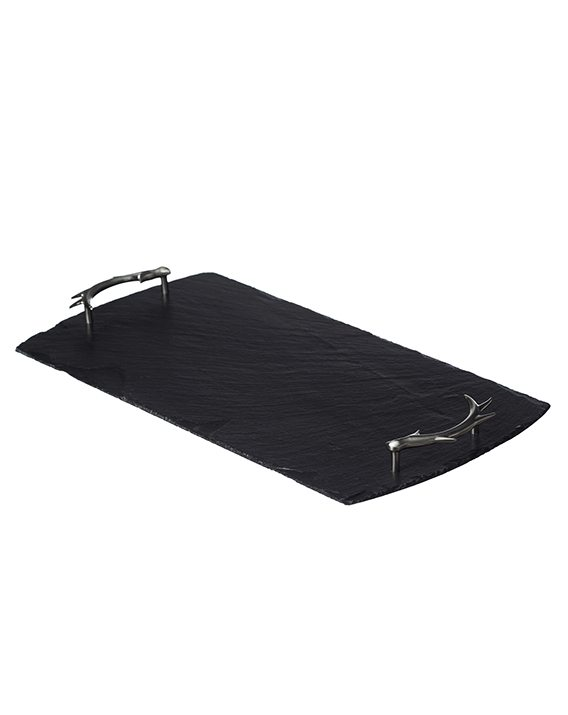 Just Slate Large Slate Tray with Antler Handles