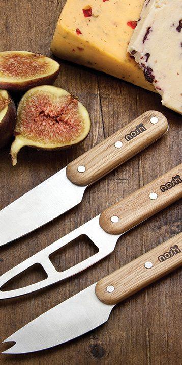Nosh 3pc Oak Handled Cheese Knife Set