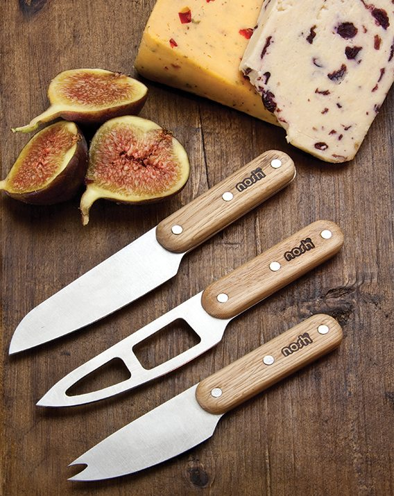 Oak handled cheese knife set scene NH020