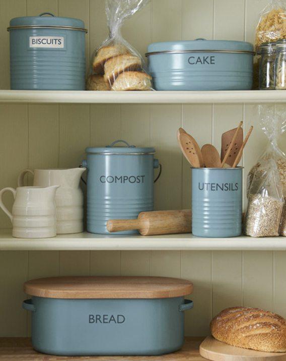 Typhoon Vintage Kitchen Blue Bread Bin